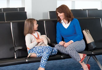 Gate agent assisting customers